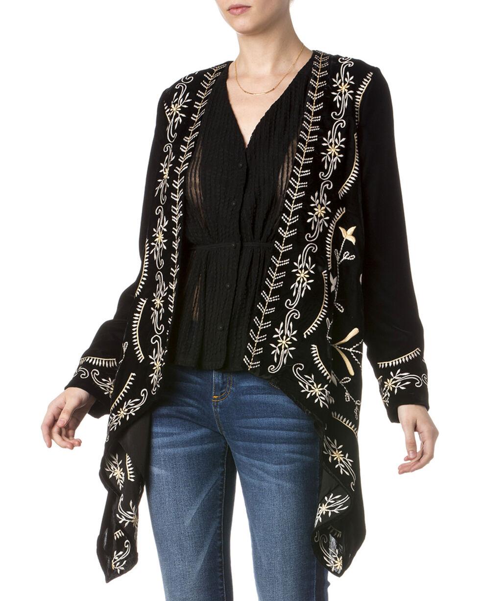 Miss Me Women's Embroidered Black Velvet Cardigan, Black, hi-res