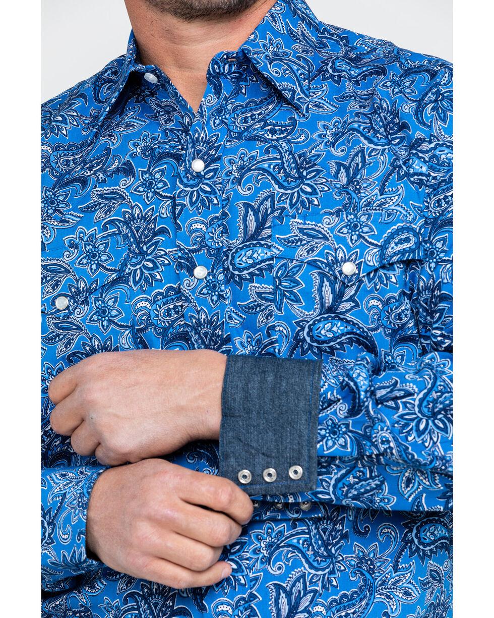 Stetson Men's Floral Paisley Print Long Sleeve Western Shirt , Blue, hi-res