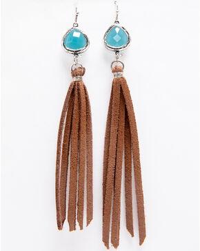 Shyanne Women's Triangle Blue Stone Brown Tassel Earrings, Silver, hi-res
