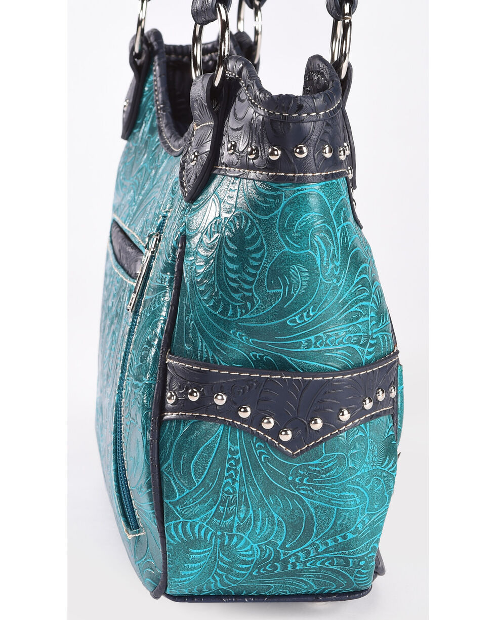 Wear N.E. Wear Women's Turquoise Floral Laser Cut Shoulder Bag, Turquoise, hi-res