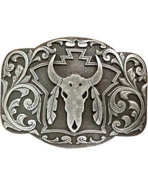Cody James® Men's Steer Skull Belt Buckle, Silver, hi-res