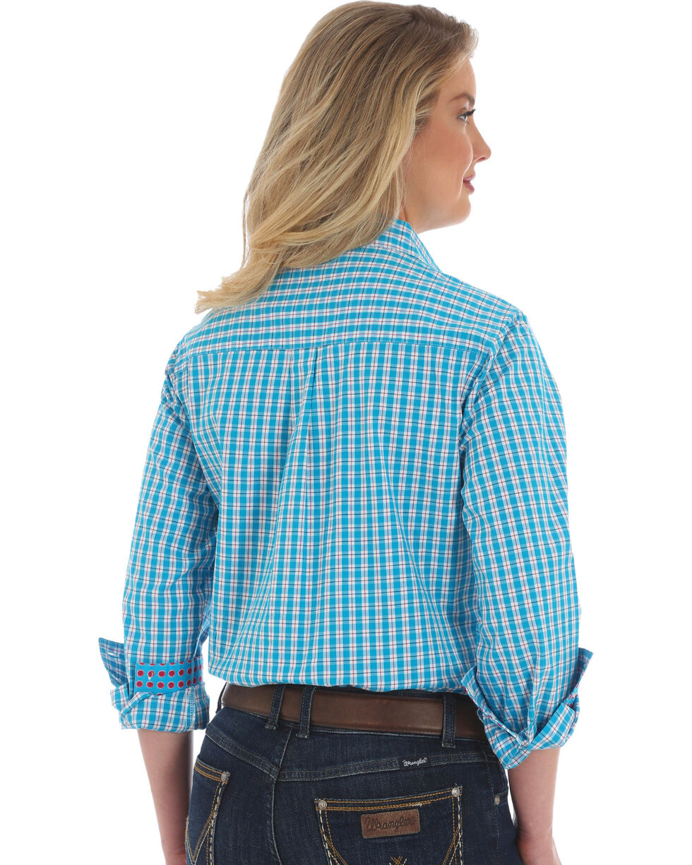 George Strait by Wrangler Women's Blue Plaid Long Sleeve Shirt , Multi, hi-res