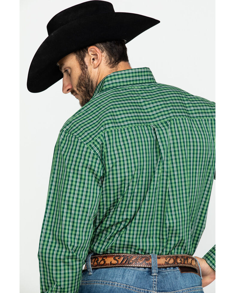 Wrangler Men's Classic Forest Small Plaid Long Sleeve Western Shirt , Forest Green, hi-res