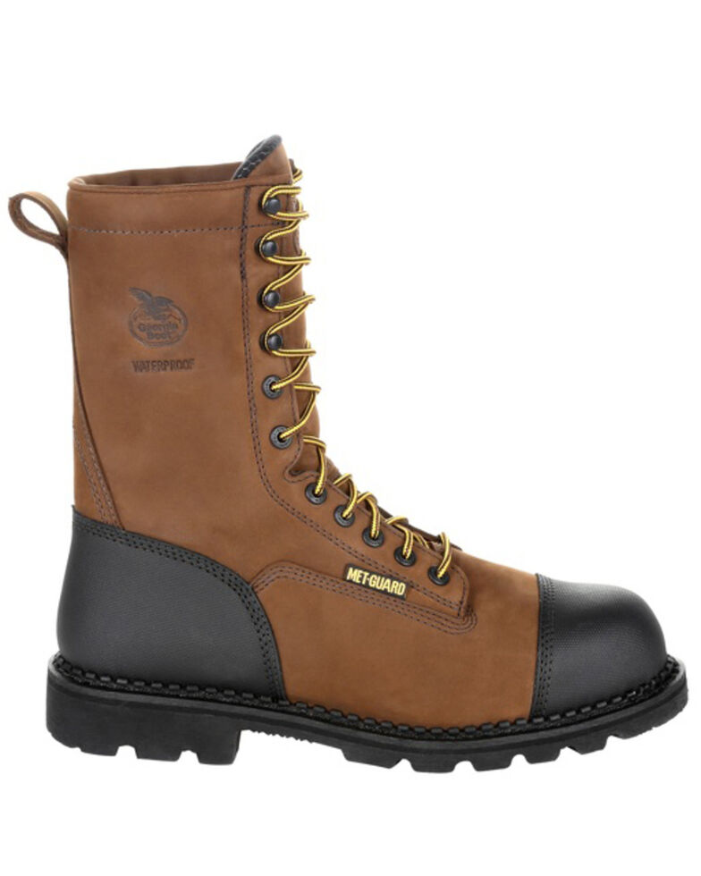 Georgia Boot Men's Drill Dog Work Boot - Steel Toe, Black/brown, hi-res