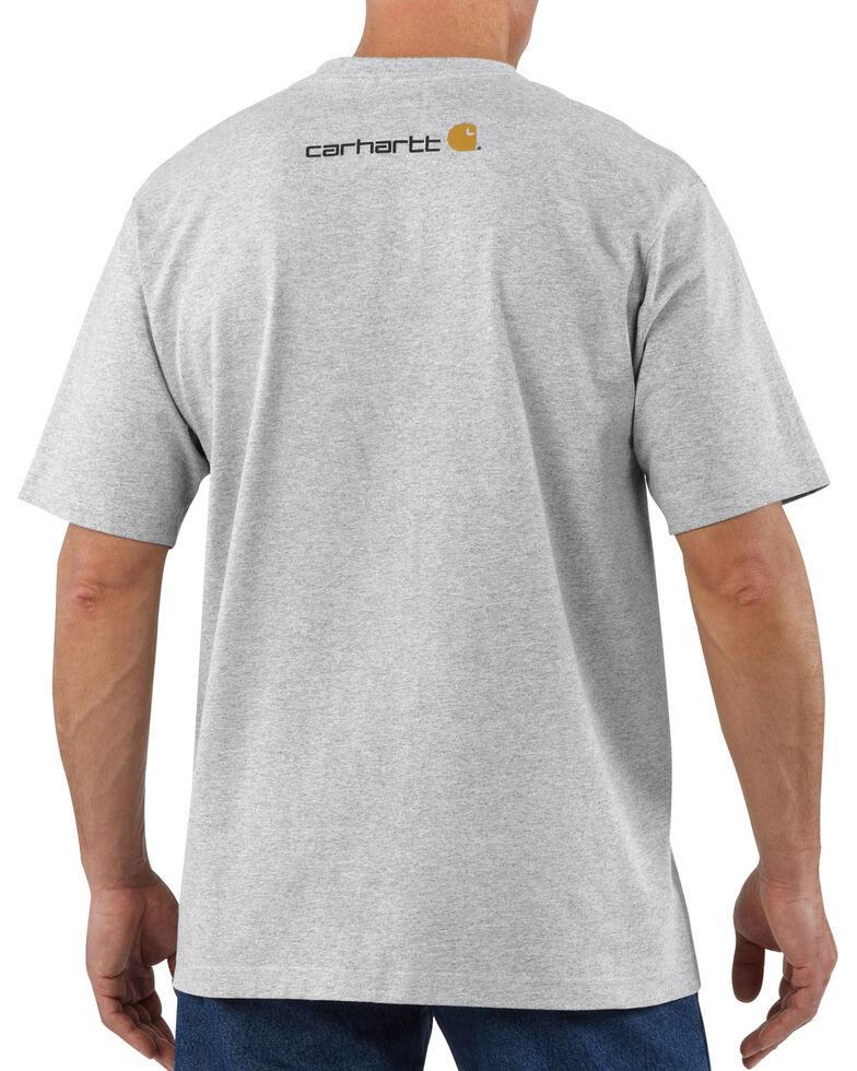 Carhartt Men's Short-Sleeve Logo T-Shirt, Hthr Grey, hi-res
