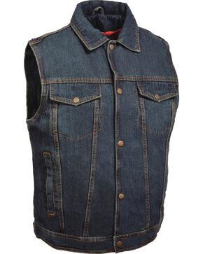 Milwaukee Leather Men's Snap Front Denim Vest w/ Shirt Collar- Big - 5X, Blue, hi-res