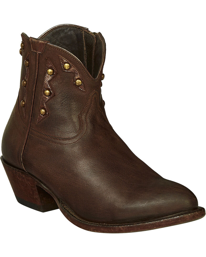 Lucchese Handmade Whiskey Brown Goat Demi Cowgirl Booties - Pointed Toe , Dark Brown, hi-res