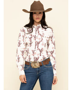 Cowgirl Hardware Women's Ivory Cactus Rose Long Sleeve Western Shirt, Ivory, hi-res