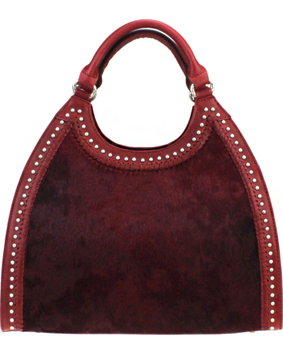 Montana West Delila Handbag 100% Genuine Leather Hair-On Hide Collection in Burgundy, Burgundy, hi-res