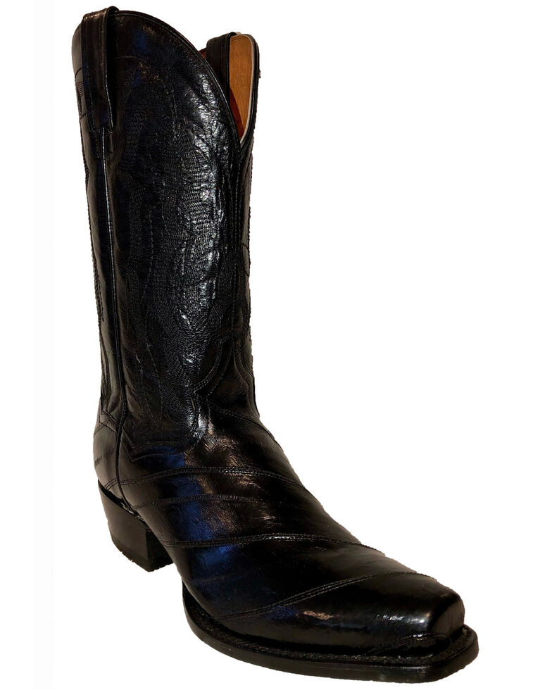 Dan Post Men's Exotic Eel Western Boots - Square Toe, Black, hi-res