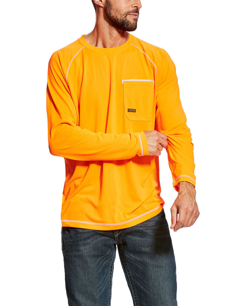 Ariat Men's Orange Rebar Sunstopper Long Sleeve Work Pocket T-Shirt , Orange, hi-res