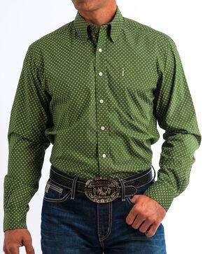 Cinch Men's Modern Fit Olive Print Long Sleeve Button Down Shirt, Olive, hi-res