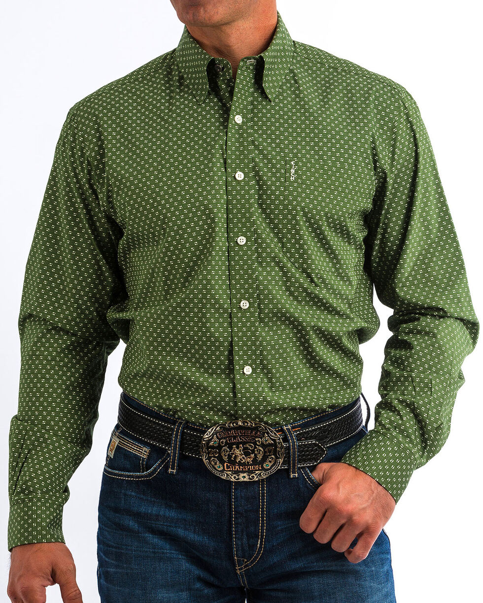 Cinch Men's Modern Fit Olive Print Long Sleeve Button Down Shirt, Olive, hi-res