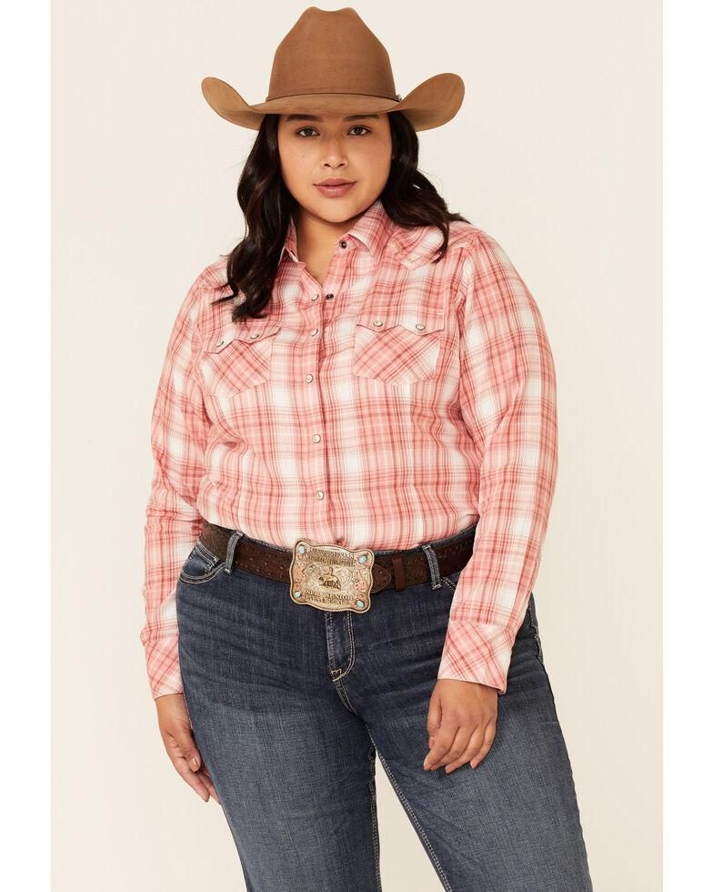 Ariat Women's R.E.A.L Charming Ombre Plaid Long Sleeve Snap Western Core Shirt - Plus, Multi, hi-res