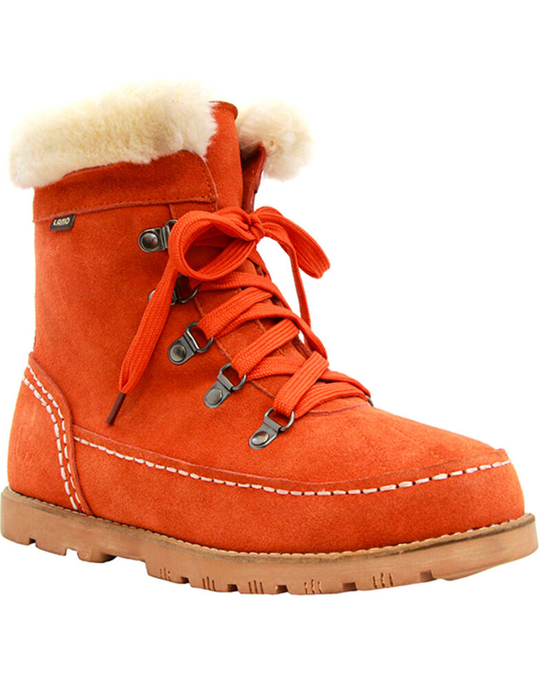 Lamo Footwear Women's Taylor Lace-Up Boots - Round Toe, Orange, hi-res
