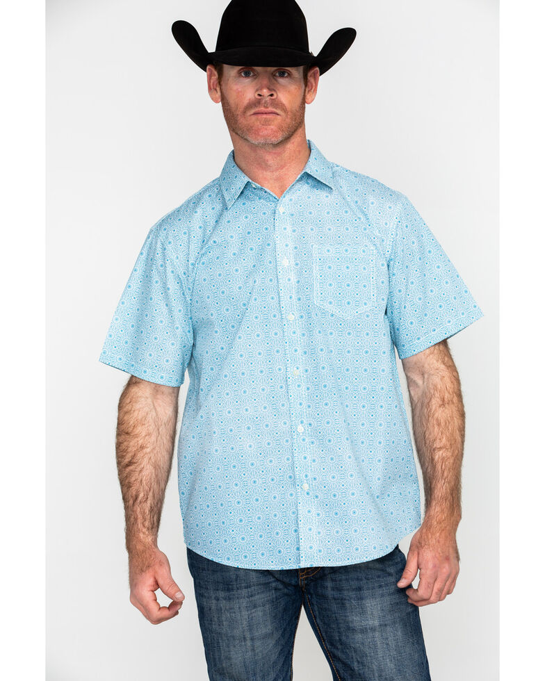 Gibson Men's Fortune Teller Geo Print Short Sleeve Western Shirt , Royal Blue, hi-res