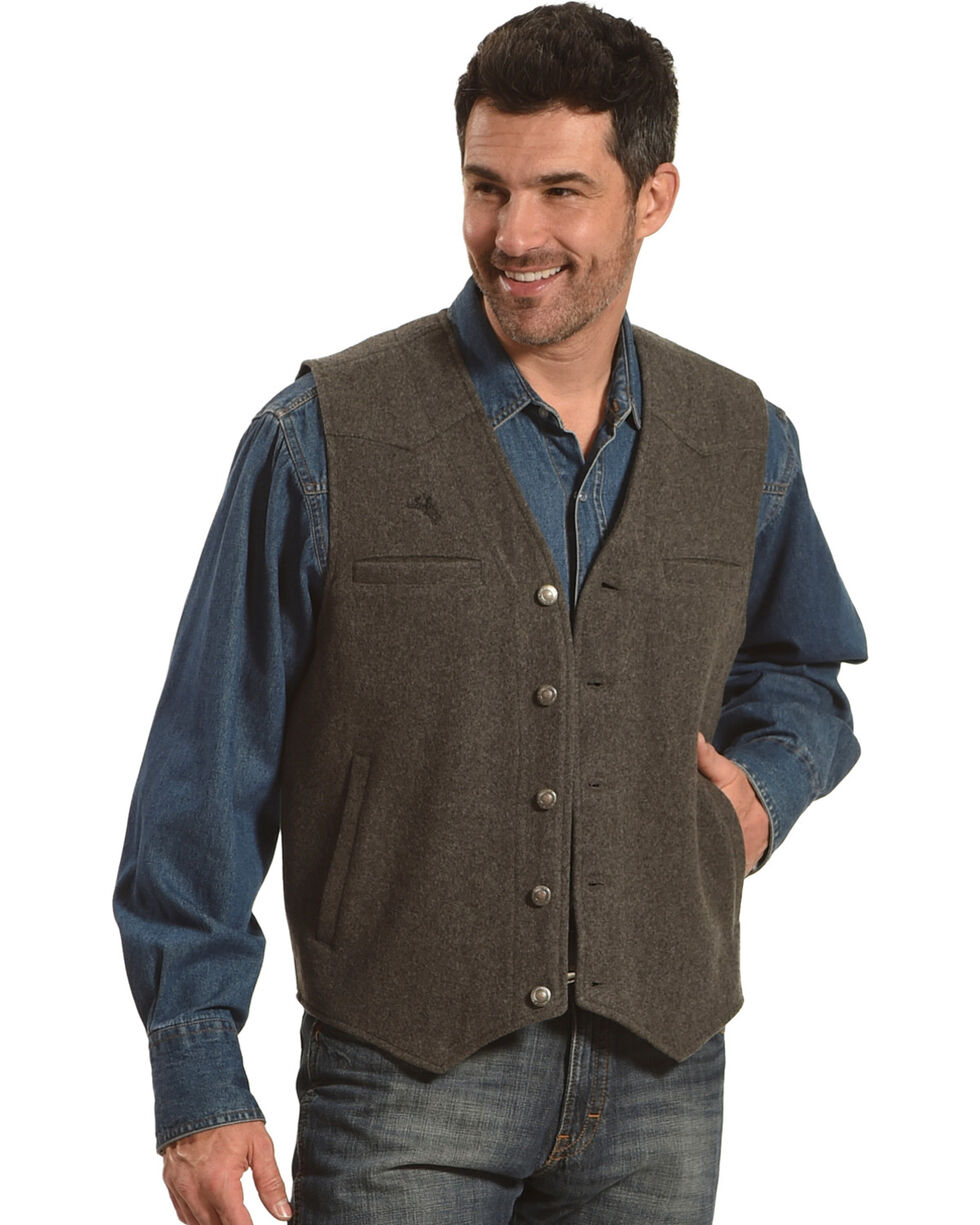 Wyoming Traders Men's Grey Wyoming Wool Vest, Grey, hi-res