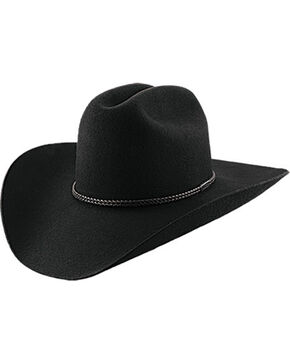 Master Hatters Men's Black Lariat 2X Wool Cowboy hat , Black, hi-res