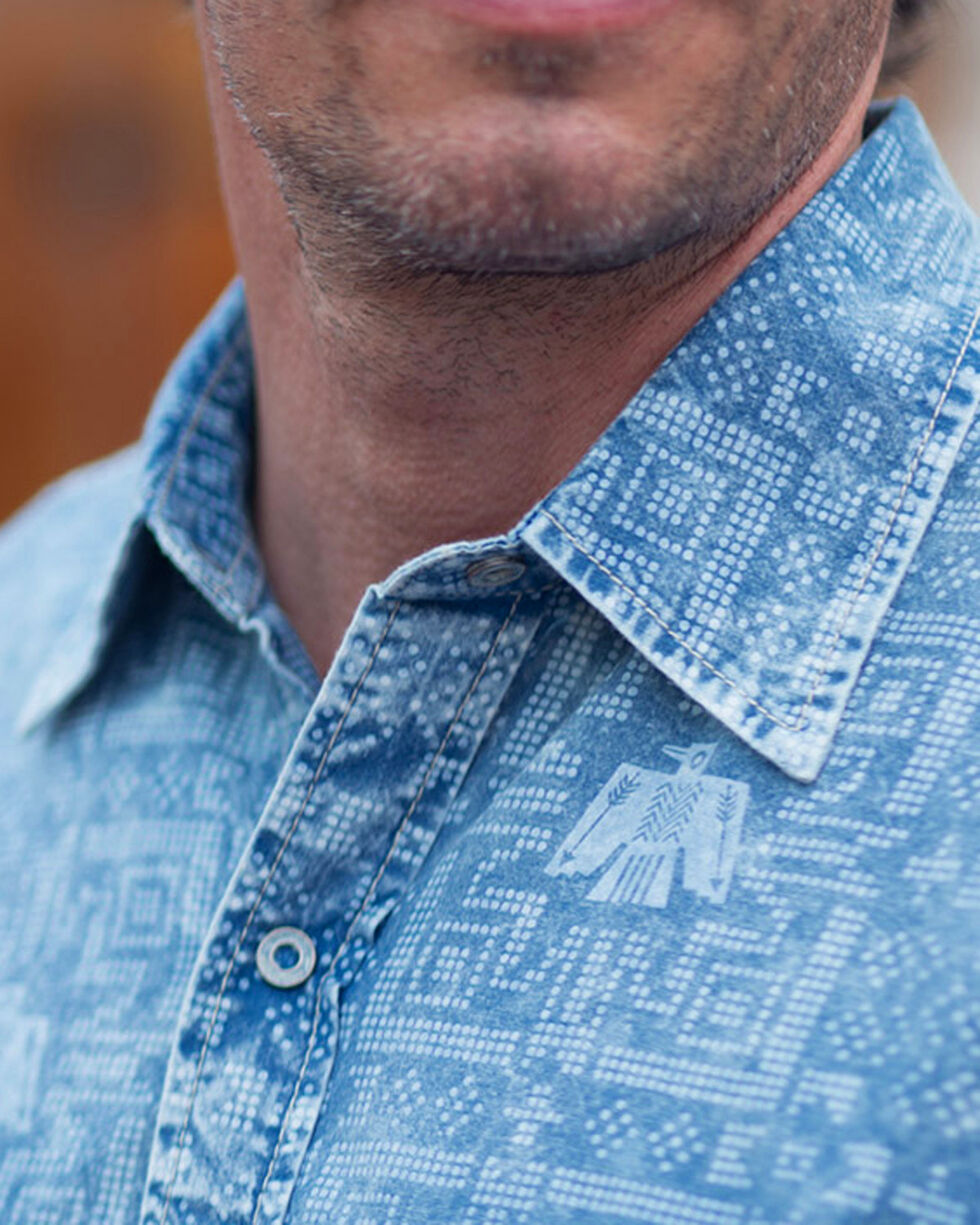 Ryan Michael Men's Indigo Thunderbird Point Print Shirt , Indigo, hi-res