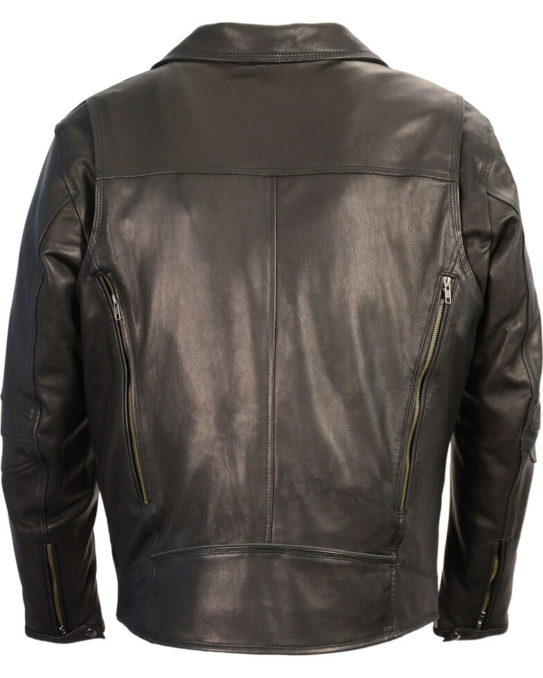 Milwaukee Leather Men's Black Lightweight Extra Long Biker Jacket - Big 3X , Black, hi-res