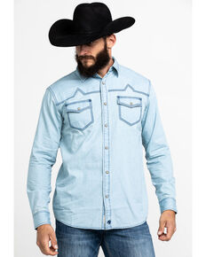 Moonshine Spirit Men's Chumash Washed Denim Long Sleeve Western Shirt , Indigo, hi-res
