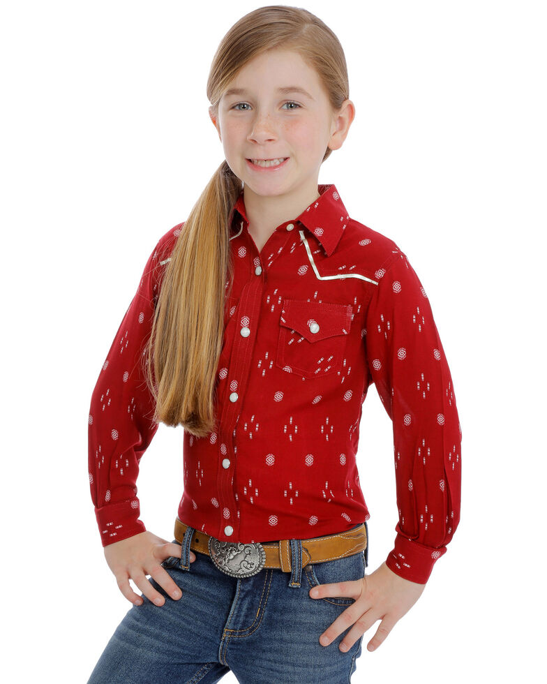 Wrangler Girls' Red Ikat Print Long Sleeve Western Shirt, Red, hi-res