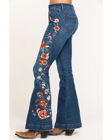 Driftwood Women's Dark Mercury Embroidered Farrah Flare Jeans, Indigo, hi-res