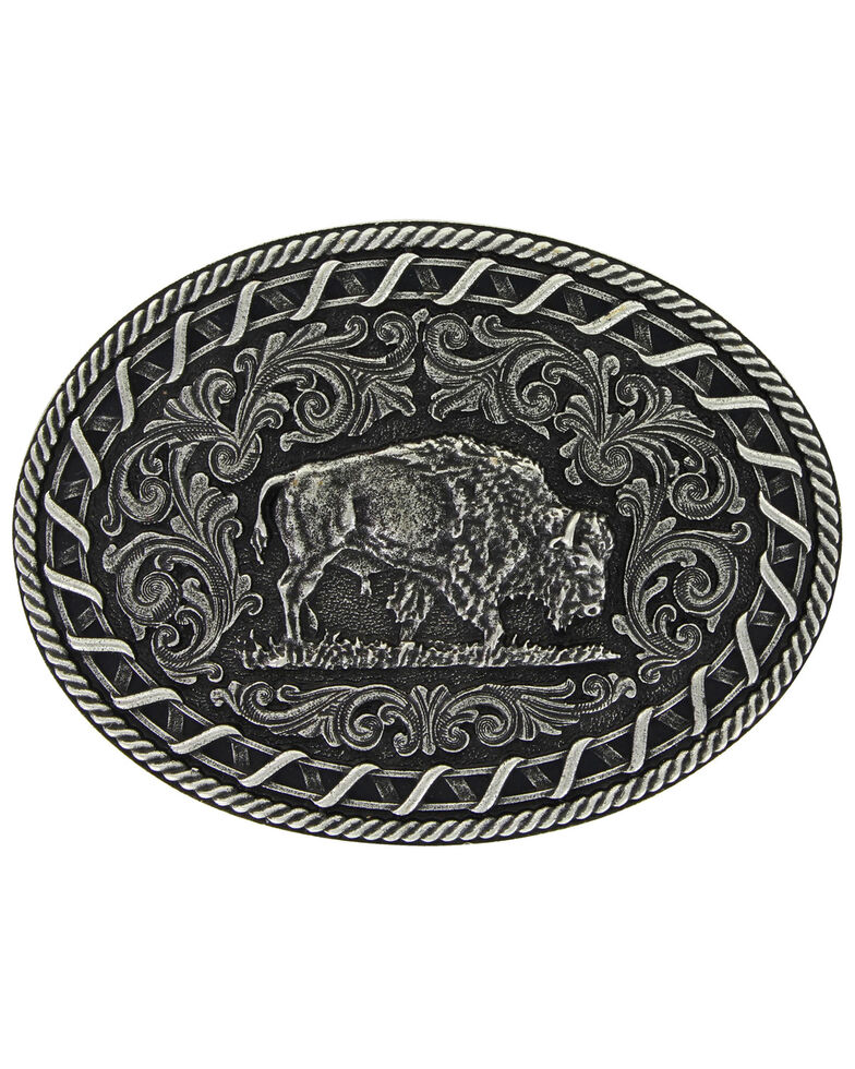 Montana Silversmiths Antiqued Buck Stitch Oval Buffalo Attitude Buckle, Silver, hi-res