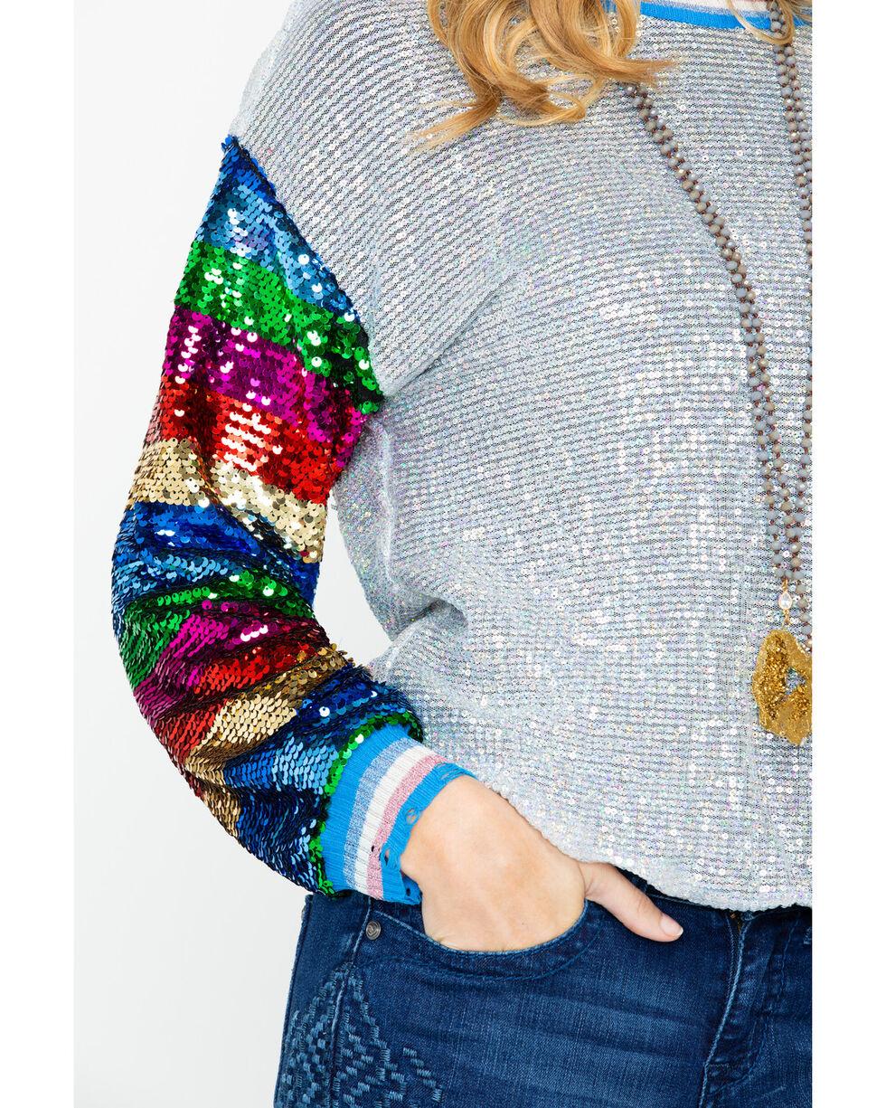 Dance & Marvel Women's Lurex Multi Color Sequin Long Sleeve Top , Silver, hi-res
