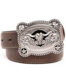 Cody James Boys' Brown Longhorn Rectangular Western Buckle Belt , Brown, hi-res