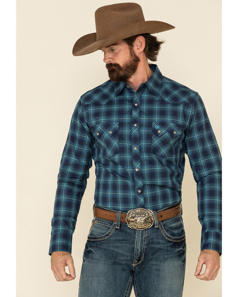 Wrangler Retro Men's Blue Large Plaid Long Sleeve Western Shirt , Blue, hi-res