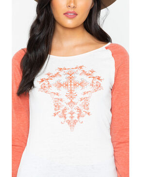Cowgirl Hardware Women's Cross Filigree Baseball Tee, Rust Copper, hi-res