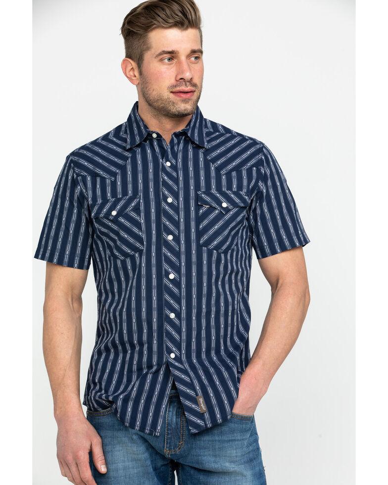 Wrangler Retro Men's Premium Dobby Striped Short Sleeve Western Shirt , Navy, hi-res