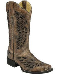 Corral Women's Sequin & Crystal Butterfly Western Boots, Tan, hi-res