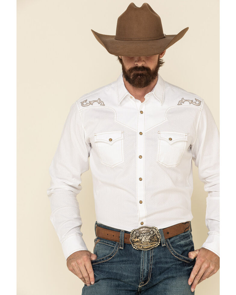Rock 47 By Wrangler Men's Solid Embroidered Long Sleeve Western Shirt , White, hi-res