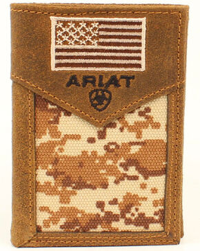 Ariat Men's Trifold Digital Camo Wallet, Brown, hi-res