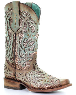 Corral Women's Mint Glitter Inlay Western Boots - Square Toe, Light Green, hi-res