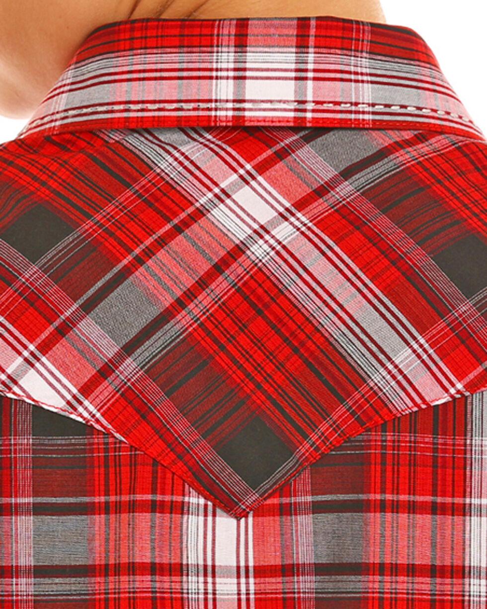 Rock & Roll Cowboy Boys' Red Yarndye Plaid Snap Shirt , Red, hi-res
