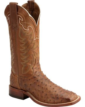 Tony Lama Men's San Saba Full Quill Ostrich Exotic Boots, Chocolate, hi-res