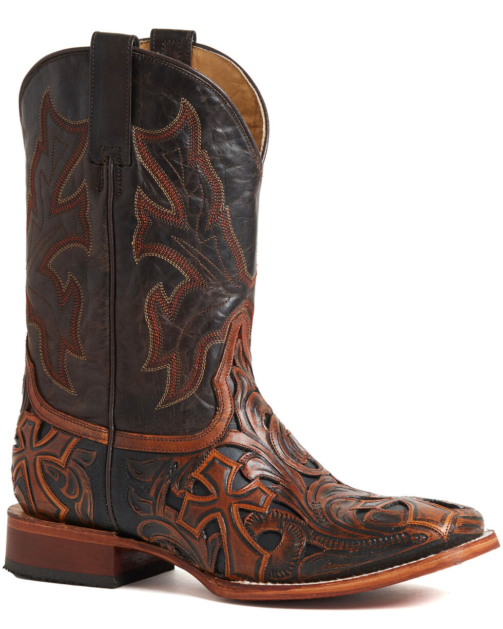 Stetson Men's Brown Handtooled Cross Boots - Square Toe , Brown, hi-res