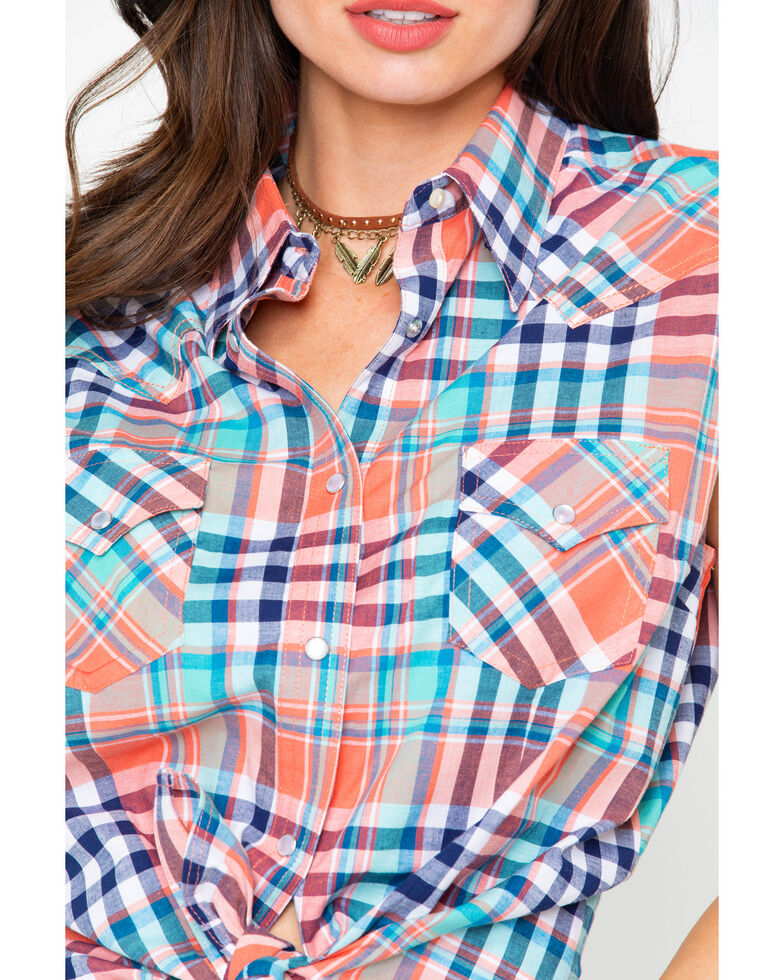 Wrangler Women's Plaid Sleeveless Western Top , Coral, hi-res