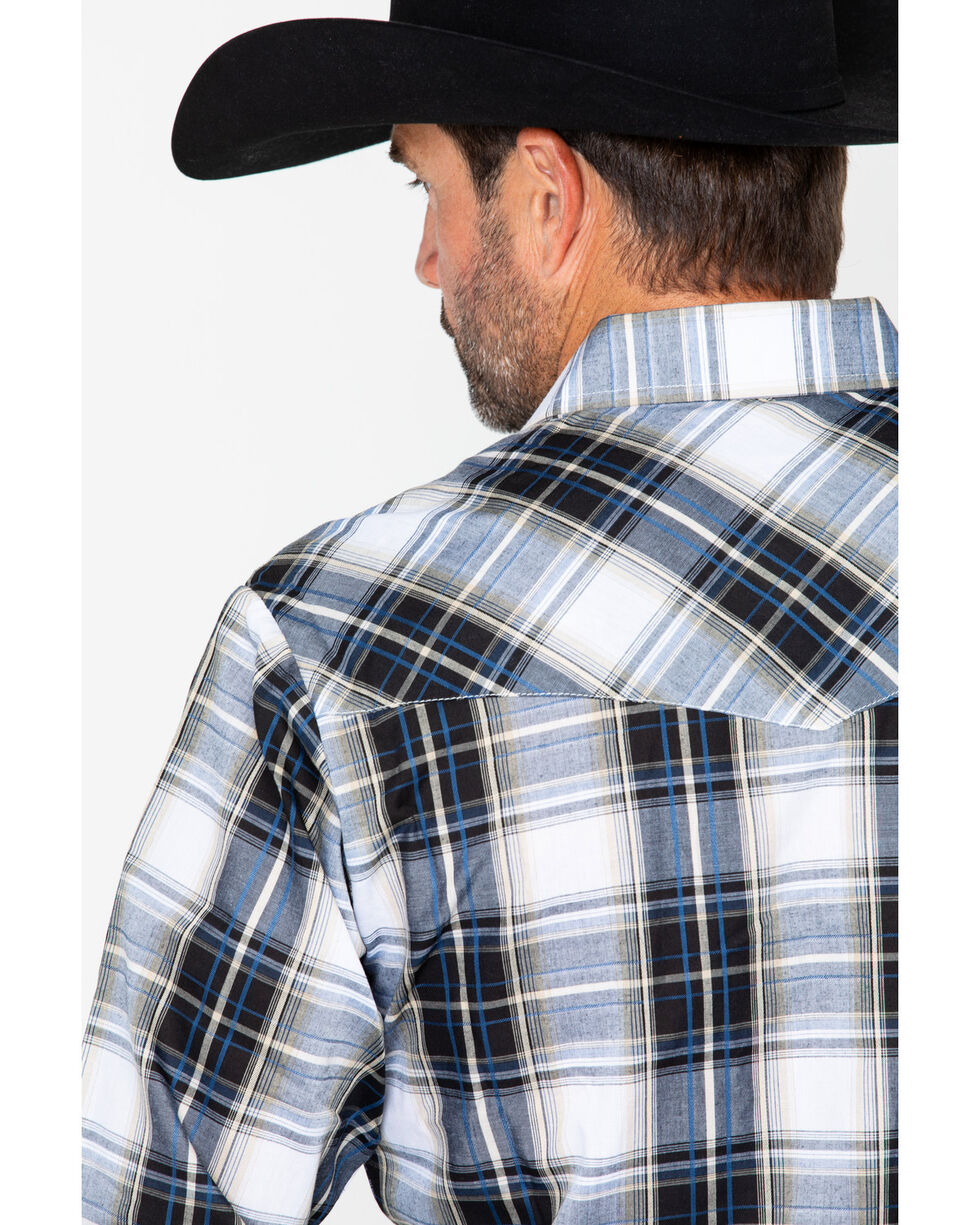 Ely Cattleman Men's Textured Large Plaid- Big and Tall , Black, hi-res