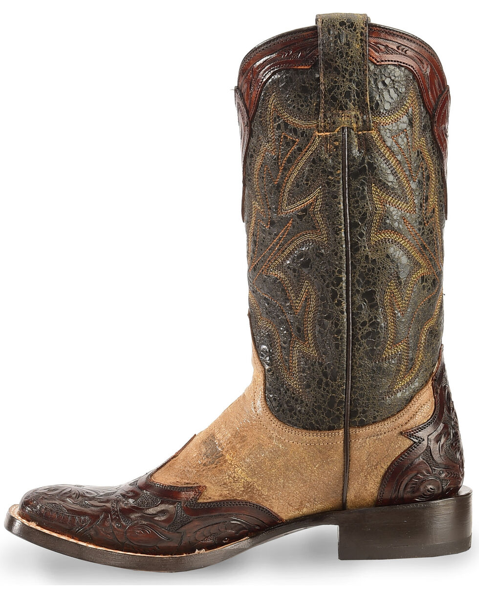 Stetson Women's Hand-Tooled Western Boots, Brown, hi-res