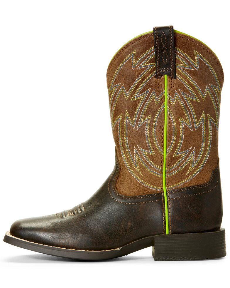 Ariat Youth Boys' Espresso Crossdraw Western Boots - Wide Square Toe, Brown, hi-res