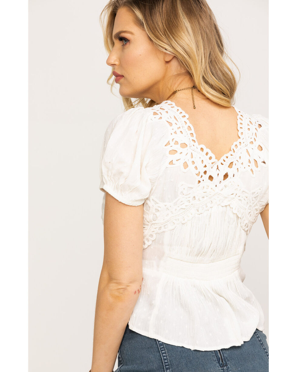 Free People Women's Sweet Roses Blouse, Ivory, hi-res