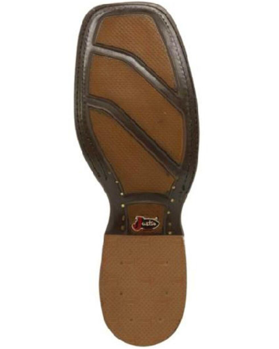 Justin Men's Cognac Smooth Ostrich Western Boots - Wide Square Toe, Cognac, hi-res
