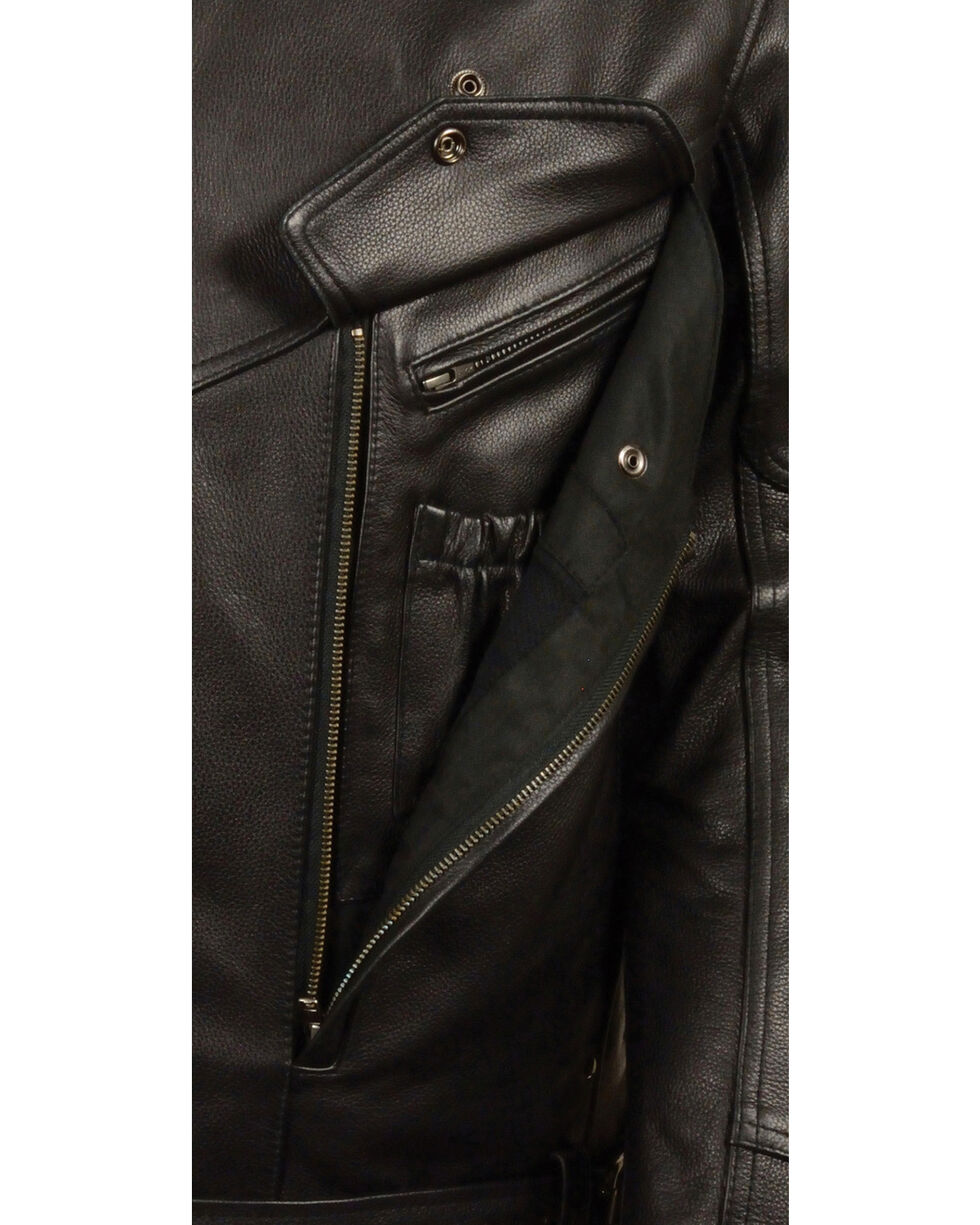 Milwaukee Leather Men's Side Set Belt Utility Pocket Motorcycle Jacket, Black, hi-res