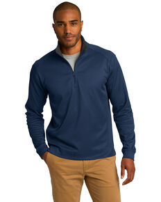 Port Authority Men's True Navy & Iron Grey 3X Virtual Texture 1/4 Zip Work Pullover Sweatshirt - Big , Multi, hi-res