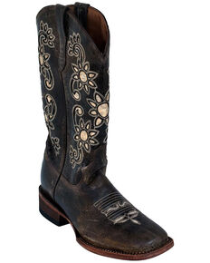 Ferrini Women's Sunflower Distressed Western Boots - Square Toe, Chocolate, hi-res