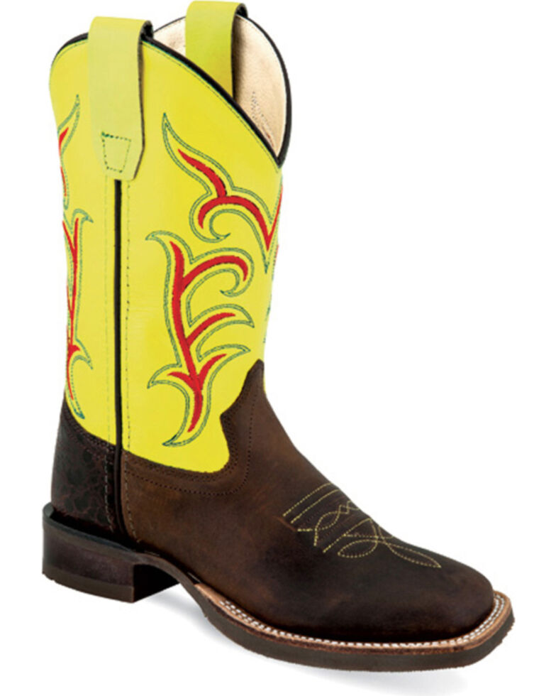 Old West Boys' Brown Vibrant Stitched Western Boots - Square Toe , Brown, hi-res
